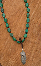 Wired Heart Natural Turquoise with Silver Feather Pendant Necklace