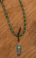 Wired Heart Natural Turquoise with Silver Feather Embellished Necklace