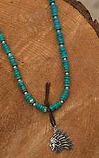 Wired Heart Natural Turquoise with Silver Chief Pendant Necklace