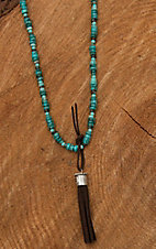 Wired Heart Natural Turquoise with Brown Suede Tassel Necklace