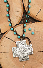 Wired Heart Brown Leather Turquoise Beaded Cross Pendant Jewelry Set