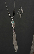 Wired Heart Silver with Feather and Tassel Pendant Jewelry Set