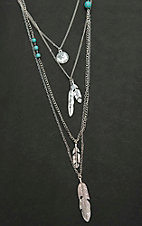 Wired Heart Silver Multi Strand Dainty Necklace