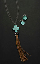 Wired Heart Silver with Turquoise Cross and Tassel Jewelry Set