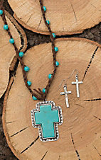 Isac Brown with Turquoise Beading and Turquoise Cross Pendant with Cross Earrings Jewelry SEt