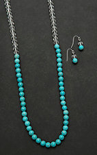 Wired Heart Turquoise Beaded with Clear Beaded Top Jewelry Set