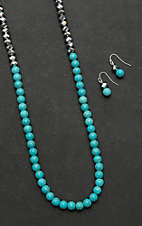 Isac Turquoise Beaded with Silver Beaded Top Jewelry Set
