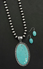 Wired Heart Silver Beaded with Large Oval Turquoise Stone Pendant Jewelry Set