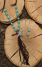 Wired Heart Brown Leather with Turquoise Beading and Steer and Tassel Pendant Jewelry Set