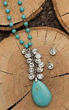 Wired Heart Turquoise Beaded with Rhinestone Details Jewelry Set
