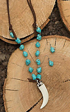 Wired Heart Brown Leather with Turquoise Beading and Ivory Horn Pendant Jewelry Set