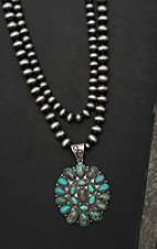 Isac Silver Double Strand Beaded with Turquoise Stone Circle Pendant Necklace