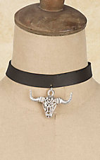 Wired Heart Black with Steer Head Charm Choker Necklace