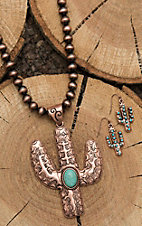 Wired Heart Copper Beaded with Cactus Pendant and Cactus Earrings Jewelry Set