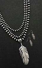 Wired Heart Silver Beaded Multi Strand Necklace and Feather Earrings Jewelry Set