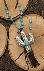 Wired Heart Brown Leather with Turquoise Beading and Cactus and Tassel Pendant Jewelry Set