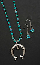 Wired Heart Turquoise Beaded with Silver Horseshoe Pendant Jewelry Set