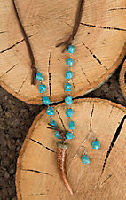 Wired Heart Turquoise Beaded with Brown Suede and Brown Horn Pendant Jewelry Set
