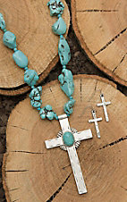 Wired Heart Turquoise Beaded with Silver Cross Pendant Jewelry Set