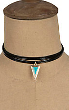 Isac Black Double Strand with Turquoise Triangle Charm Choker Necklace