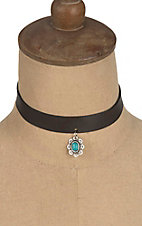 Isac Black with Turquoise Charm Choker Necklace