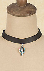 Wired Heart Black with Turquoise Cactus Charm Choker Necklace