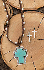 Isac Brown with Pearl Beading and Turquoise Cross Pendant with Cross Earrings Jewelry SEt