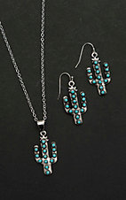 Wired Heart Silver with Cactus and Turquoise Details Jewelry Set