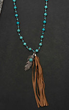 Isac Turquoise Beaded with Brown Fringe and Feather Pendant Necklace