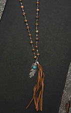 Isac Brown Beaded with Brown Fringe and Feather Pendant Necklace