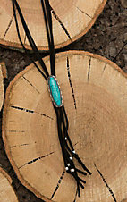 Wired Heart Black Leather with Turquoise Pendant Bolo Tie Necklace