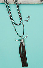 Wired Heart Silver Beaded Double Layered with Cow Skull and Tassel Pendant Jewelry Set