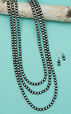 Isac Triple Layered Silver Bead Long Jewelry Set