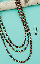 Wired Heart Triple Layered Copper Bead Long Jewelry Set