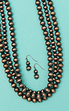 Wired Heart Triple Layered Copper Bead Short Jewelry Set