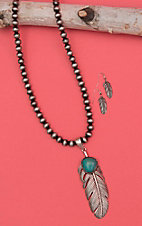 Wired Heart Silver Beaded with Feather Tassel Jewelry Set