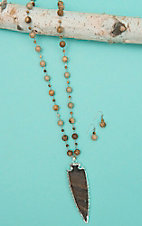 Wired Heart Brown Beaded with Stone Arrow Jewelry Set
