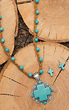 Wired Heart Braided Tan Leather with Turquoise Beading and Cross Pendant Jewelry Set