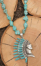 Wired Heart Turquoise Stones with Indian Head Pendant Jewelry Set