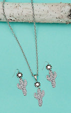 Isac Silver Chain with Cactus Pendant Jewelry Set