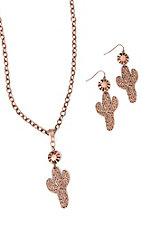 Wired Heart Copper Chain Cactus Jewelry Set