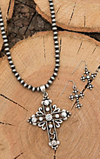 Isaac Silver Beaded with Cross Pendant Jewelry Set