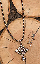 Isac Copper Beaded with Cross Pendant Jewelry Set