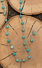 Isac Silver with Turquoise Beading Jewelry Set