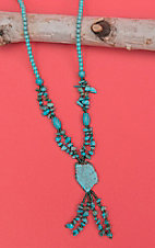 Isac Aqua and Turquoise Bead Necklace with Turquoise Stone