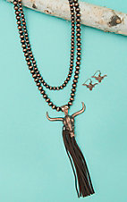 Isac Copper Beaded Double Layered with Cow Skull and Tassel Pendant Jewelry Set