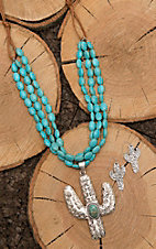 Isac Tan Leather with Turquoise Beading and Cactus Pendant Jewelry Set