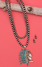 Isaac Silver Beaded Double Layered with Indian Head Pendant Jewelry Set