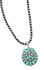 Wired Heart Large Silver Beads w/ Large Turquoise Stone Pendant Necklace