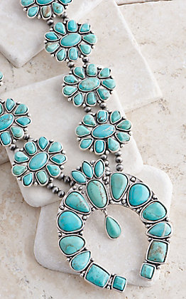 Wired Heart Natural Turquoise with Dangle Flower Squash Blossom Necklace